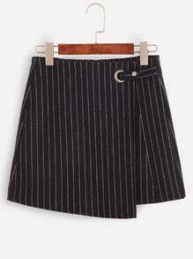 Vertical Striped Metal Eyelet Zip Asymmetric Skirt