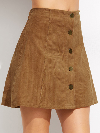 Khaki Corduroy Single Breasted A Line Skirt