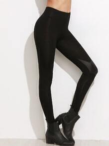 Black Knee Contrast Leggings