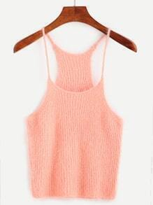 Pink Fuzzy Knit Cami Top