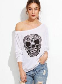 White Skull Print Boat Neck Sweatshirt