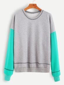 Drop Shoulder Contrast Sleeve Sweatshirt