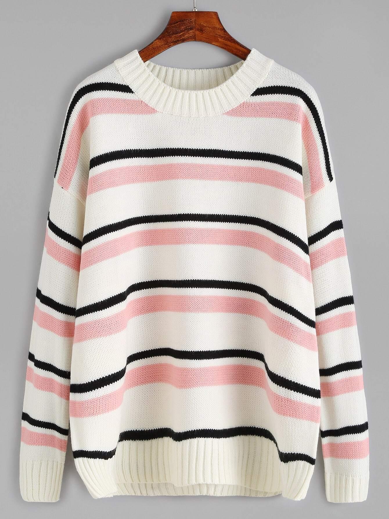 Striped Dropped Shoulder Seam Sweater RKNI160923104