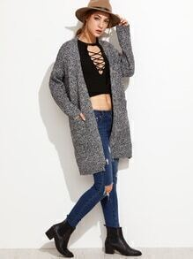 Grey Hollow Back Pockets Cardigan