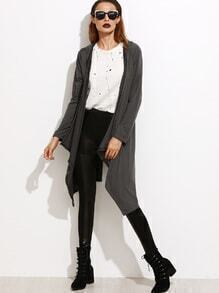 Grey Open Front Hooded Pockets Coat