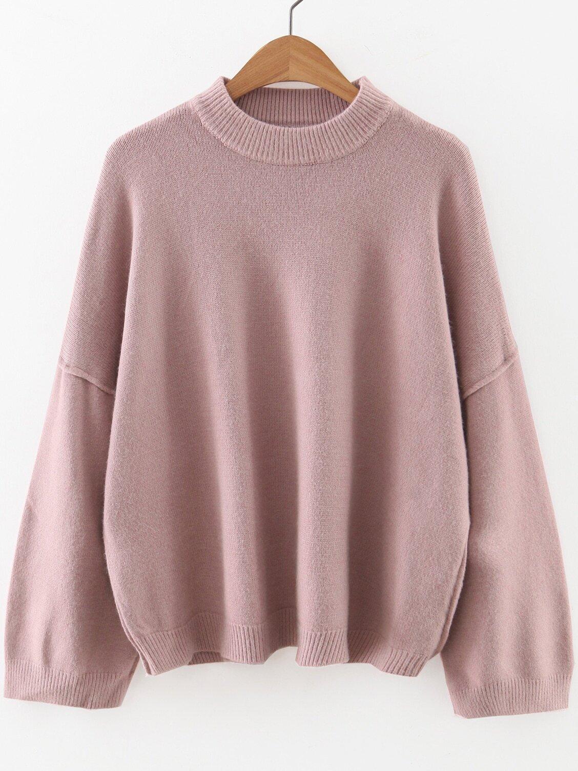 Pink Crew Neck Drop Shoulder Sweater sweater160923205