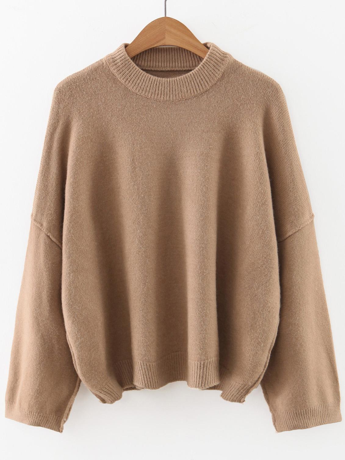 Khaki Crew Neck Drop Shoulder Sweater sweater160923206