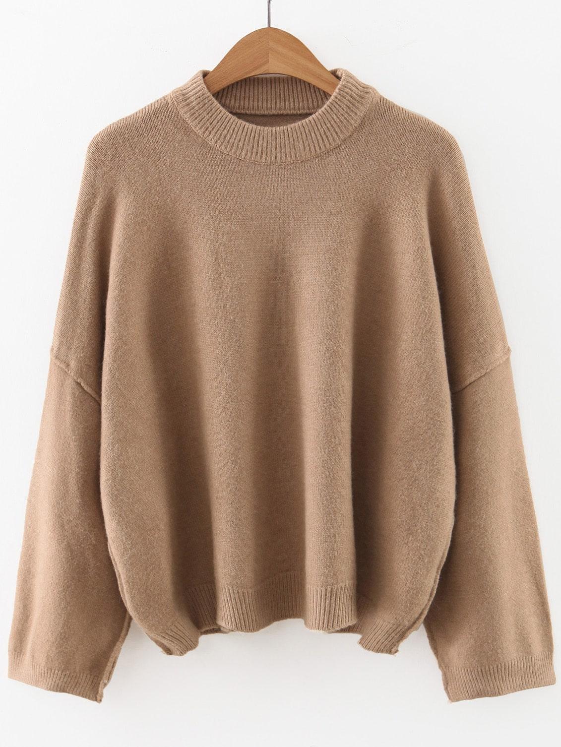 Khaki Crew Neck Drop Shoulder Sweater