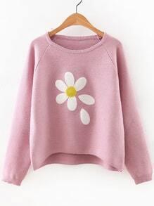 Jersey asimétrico manga raglán con estampado floral - rosa
