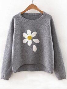 Jersey asimétrico manga raglán con estampado floral - gris