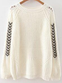 White Lace Up Sleeve Raglan Sleeve Sweater
