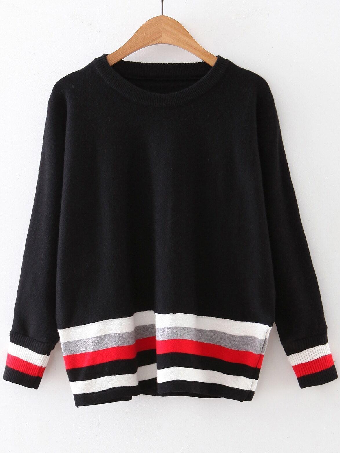 Black Color Block Ribbed Trim Knitwear sweater160923212
