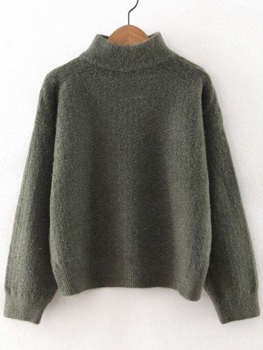 Army Green Turtleneck Drop Shoulder Sweater sweater160923214