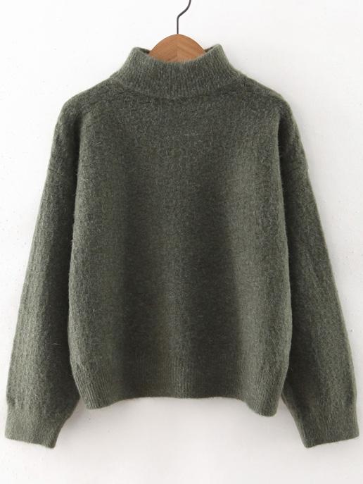 Army Green Turtleneck Drop Shoulder Sweater