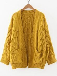 Yellow Cable Knit Front Pocket Cardigan