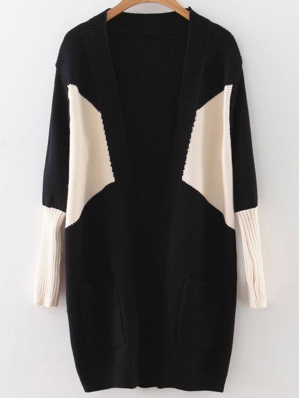 Black Color Block Ribbed Trim Cardigan With Pockets sweater160923221