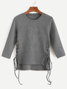 Dark Grey Lace Up Side High Low Sweater