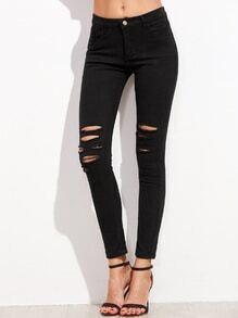 Skinny Knöchel Jeans mit zerrissen Design -schwarz