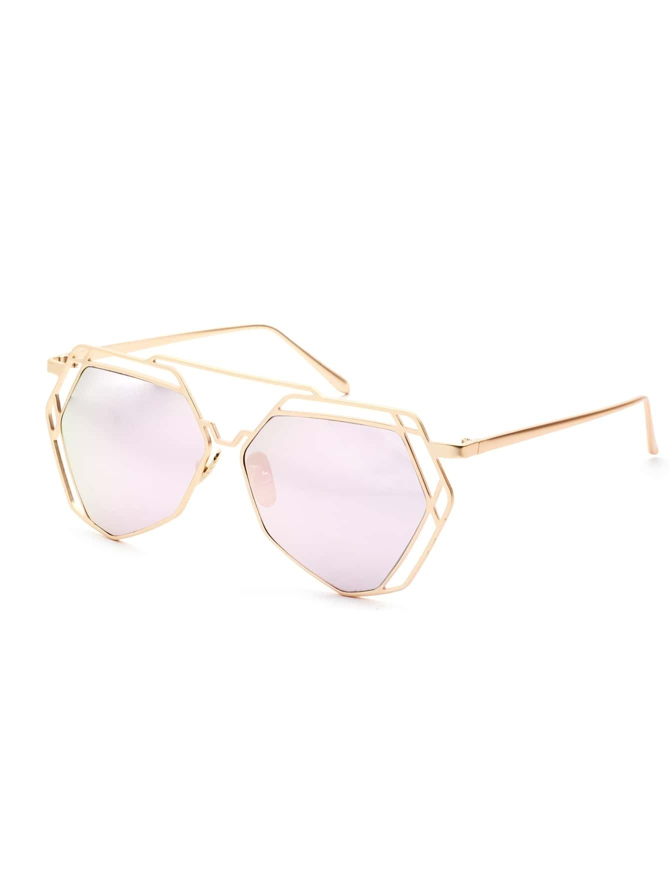 Gold Hollow Frame Double Bridge Pink Lens Sunglasses
