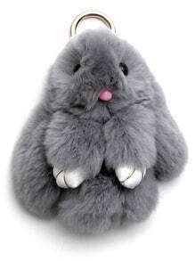 Llavero en forma de conejo bonito - gris claro