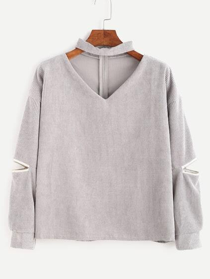 Grey Cut Out Mock Neck Zipper Corduroy Blouse