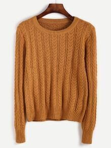 Yellow Cable Knit Fitted Sweater