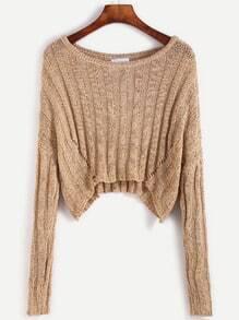 Khaki Drop Shoulder Hollow Out Crop Sweater
