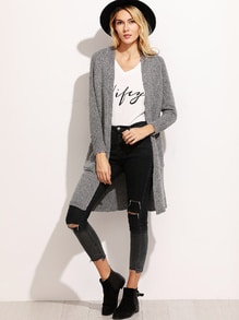 Heather Grey Raglan Sleeve Long Cardigan