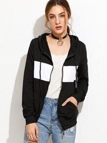 Sweat-shirt contrasté avec capuche - noir