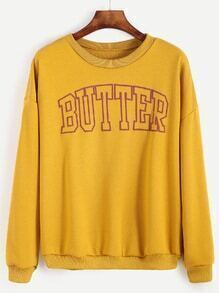 Sweat-shirt imprimé lettres - jaune