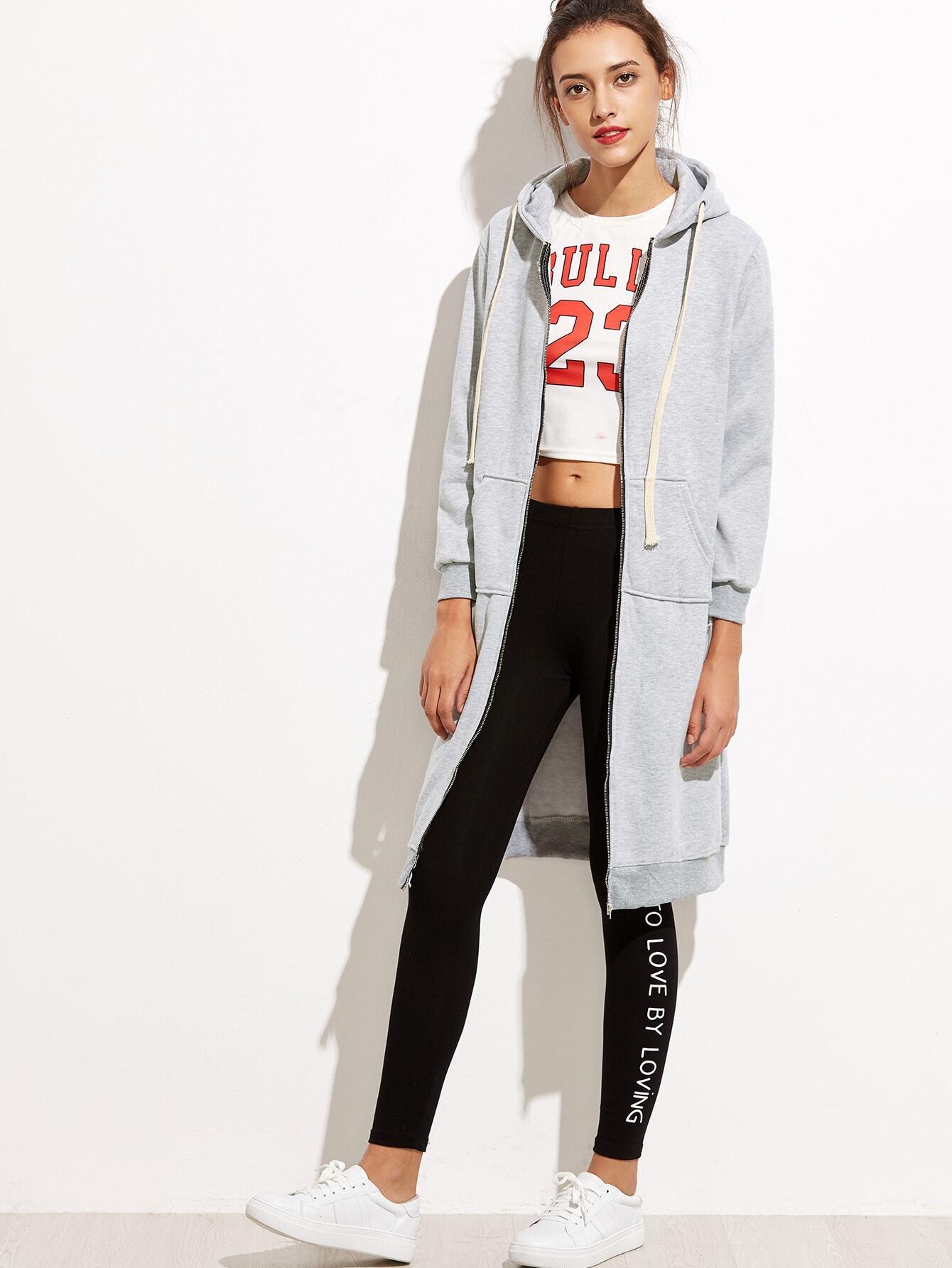 Grey Hooded Long Sweatshirt