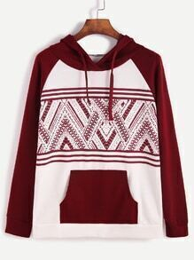 Kapuzensweatshirt Tribal Druck Raglanärmel -kontrastfarbe