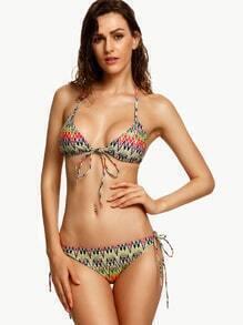 Multicolor Print Halter Bow Tie Bikini Set