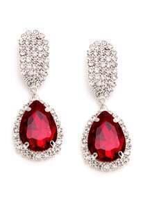 Pendientes con apliques cristales - rojo