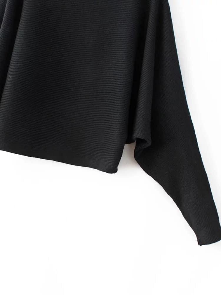 pull col bateau manche de chauve souris noir french romwe. Black Bedroom Furniture Sets. Home Design Ideas