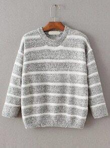 Grey Contrast Striped Crew Neck Sweater