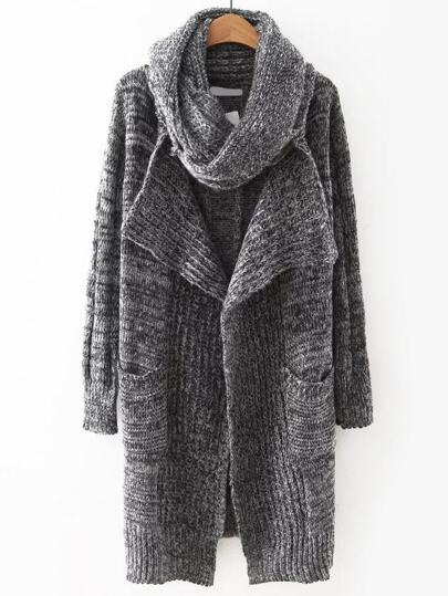 Grey Open Front Pocket Sweater Coat Scarf