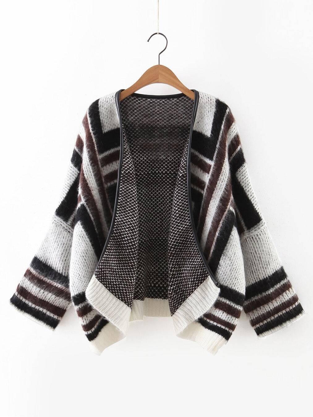 Black Contrast Ribbed Trim Dolman Sleeve Sweater Coat