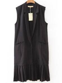 Black Single Button pleated Hem Vest