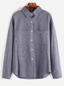 Vertical Striped Dual Pocket Front Button Shirt