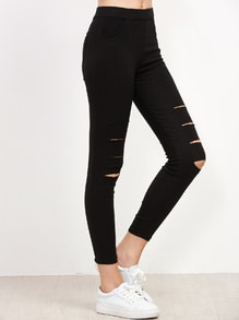 Black Ripped Skinny Leggings With Pocket