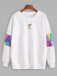 Sweat-shirt imprimé avec patchwork - blanc