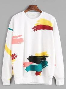 White Random Print Drop Shoulder Seam Sweatshirt