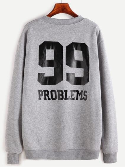 Grey Number Print Back Sweatshirt
