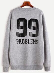 Grey Number Print Back Sweatshirt