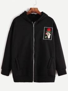 Black Drop Shoulder Embroidered Zip Up Hooded Sweatshirt