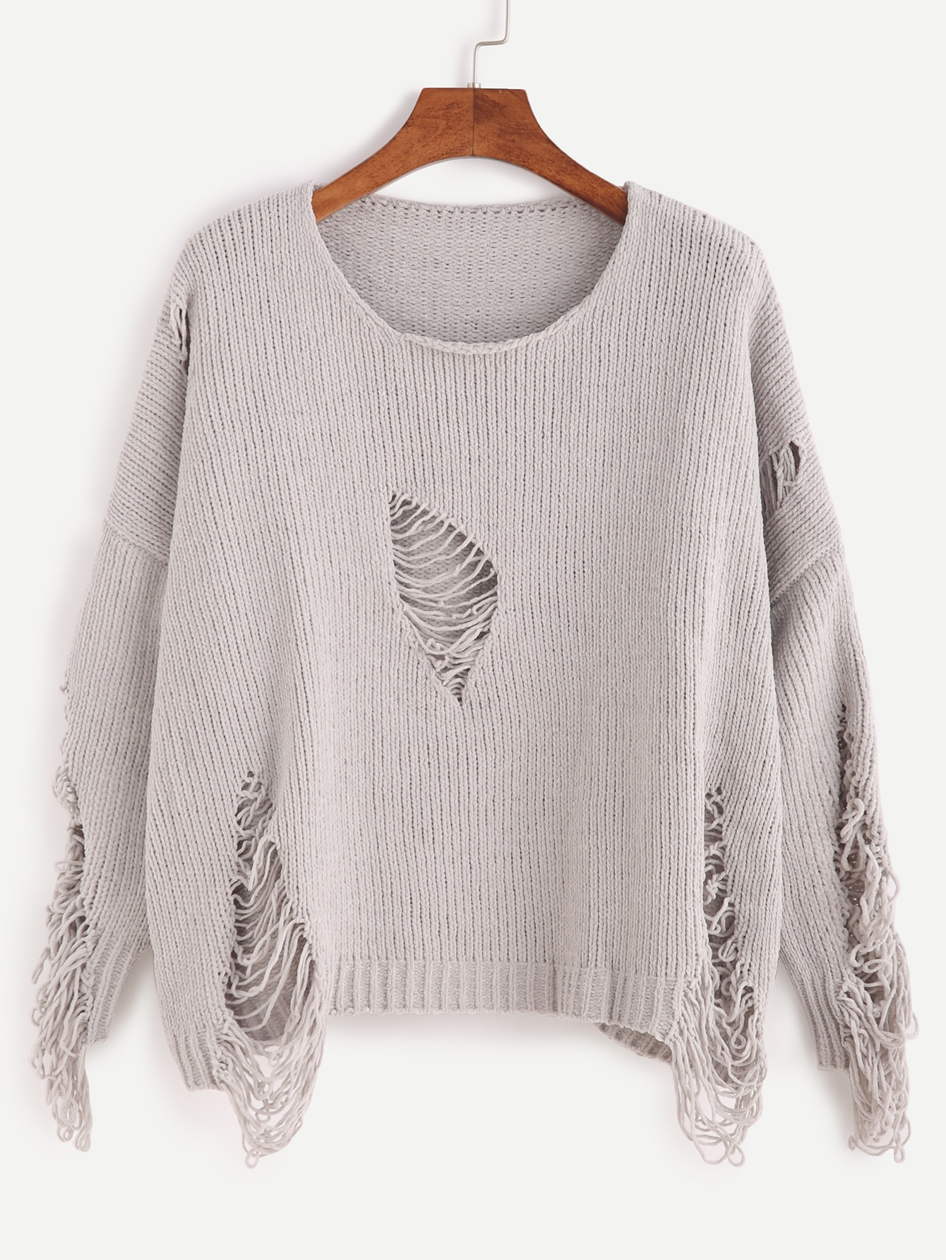 Grey Dropped Shoulder Seam Ripped Sweater RKNI160926001
