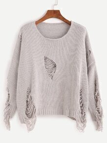 Grey Dropped Shoulder Seam Ripped Sweater