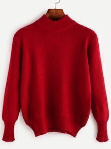 Jersey con cuello alto con abertura lateral - rojo
