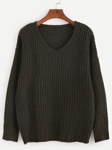Dark Green V Neck Drop Shoulder Sweater
